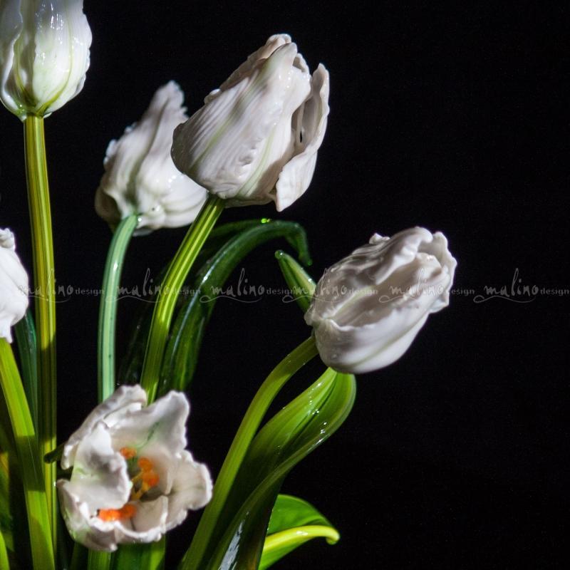 Стеклянная композиция Весна в белом