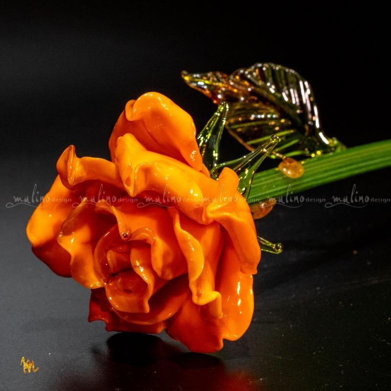 Цветок из стекла Оранжевая роза