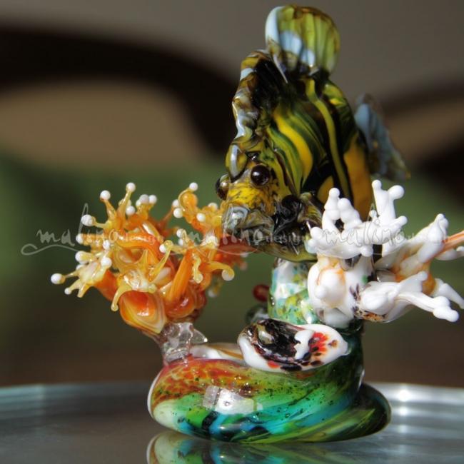 Композиция из цветного стекла Жизнь на рифе – примеры ранее выполненных работ