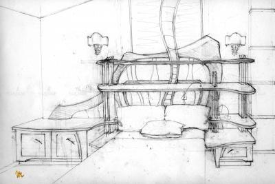 А так выглядит начало работы над созданием мебели. Первые эскизы